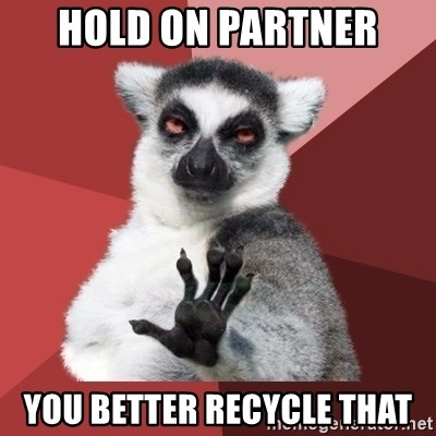 Chill Out Lemur - hold on partner you better recycle that