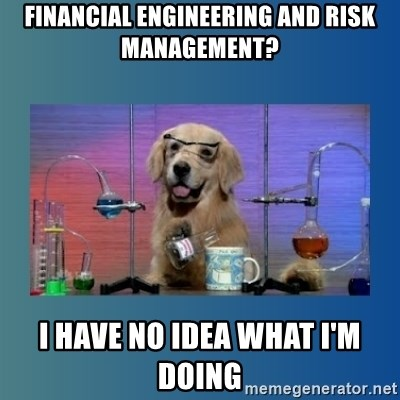 Chemistry Dog - financial engineering and risk management? i have no idea what i'm doing