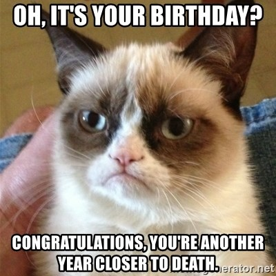 Grumpy Cat  - Oh, it's your birthday? congratulations, you're Another year closer to death.