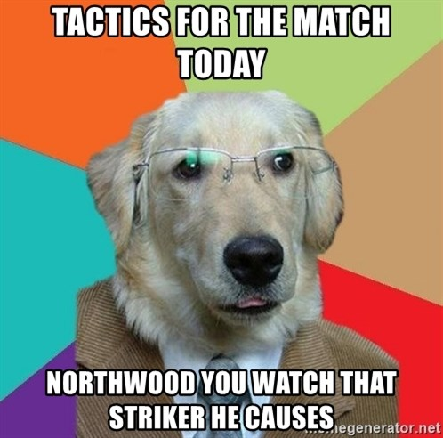 Business Dog - TACTICS FOR THE MATCH TODAY NORTHWOOD YOU WATCH THAT STRIKER HE CAUSES