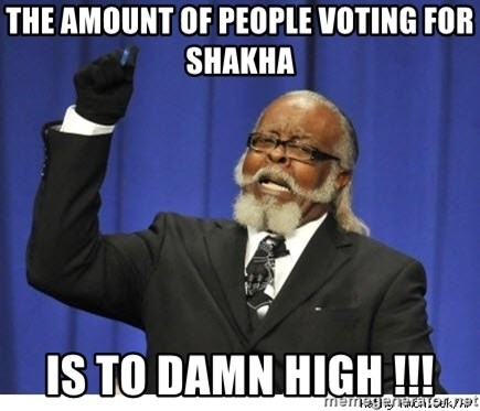 The tolerance is to damn high! - the amount of people voting for shakha is to damn high !!!