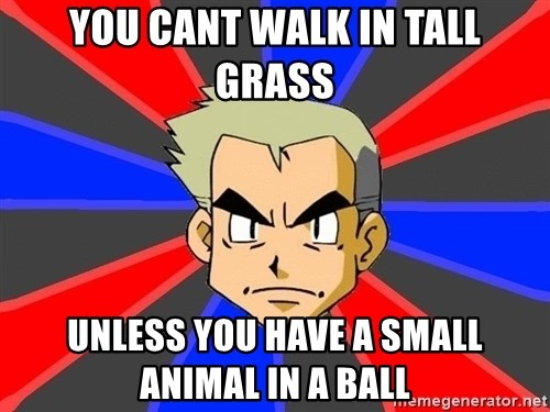 Professor Oak - YOU CANT WALK IN TALL GRASS UNLESS YOU HAVE A SMALL ANIMAL IN A BALL