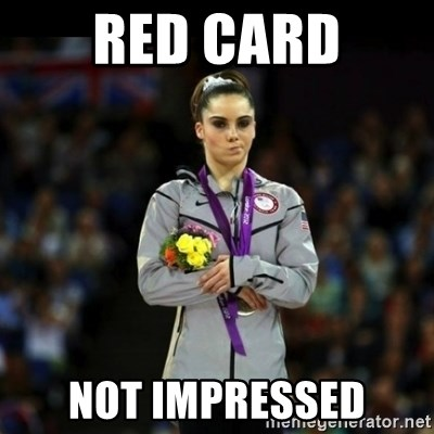 Unimpressed McKayla Maroney - Red card Not impressed