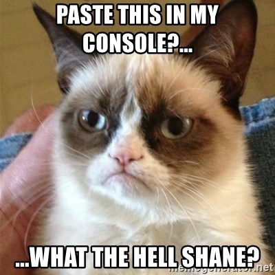Grumpy Cat  - paste this in my console?... ...WHAT THE HELL SHANE?