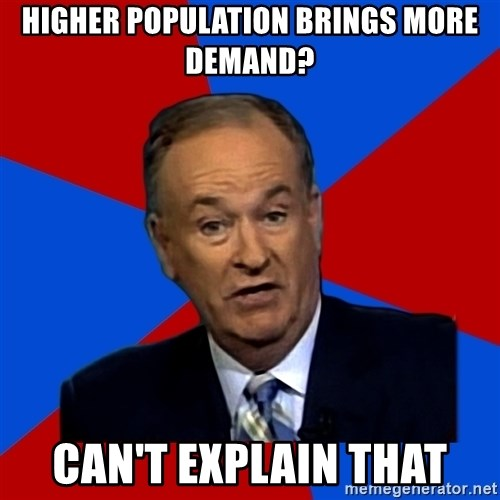 Bill O'Reilly Proves God - higher population brings more demand? can't explain that