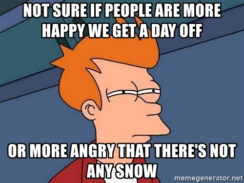 Futurama Fry - Not sure if people are more happy we get a day off or more angry that there's not any snow
