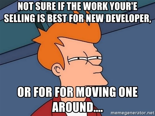 Futurama Fry - not sure if the work your'e selling is best for new developer, or for for moving one around....