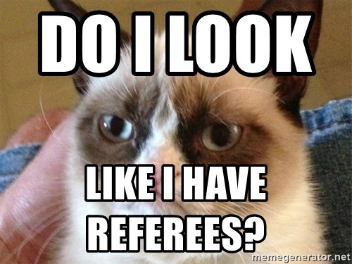 Angry Cat Meme - do i look           like i have referees?