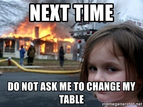 Disaster Girl - Next time Do not ask me to change my table