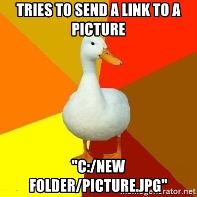 "Technologically Impaired Duck - Tries to send a Link to a picture ""c:/new folder/picture.jpg"""