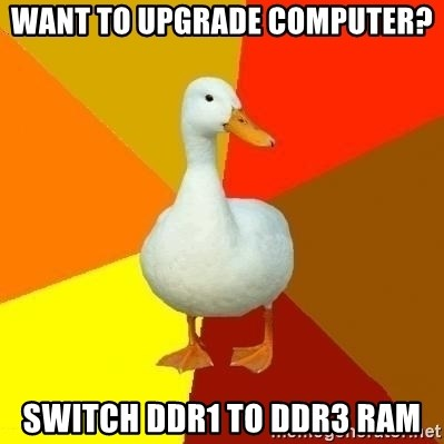 Technologically Impaired Duck - Want to upgrade computer? Switch ddr1 to ddr3 ram