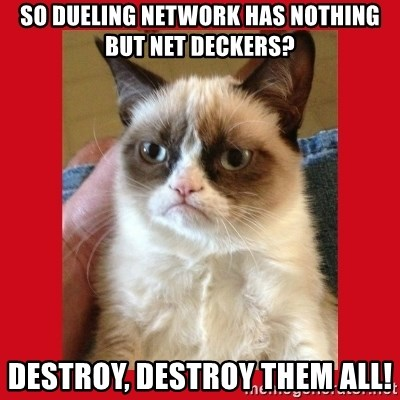 No cat - so dueling network has nothing but net deckers? destroy, destroy them all!
