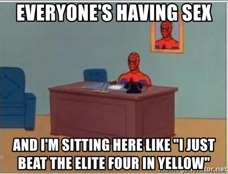 """Spiderman Desk - everyone's having sex and i'm sitting here like """"I just beat the elite four in yellow"""""""