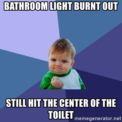 Success Kid - bathroom light burnt out  still hit the center of the toilet