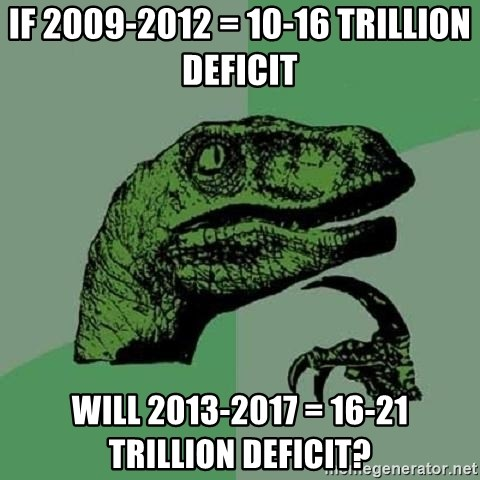 Philosoraptor - if 2009-2012 = 10-16 trillion deficit  will 2013-2017 = 16-21 Trillion deficit?