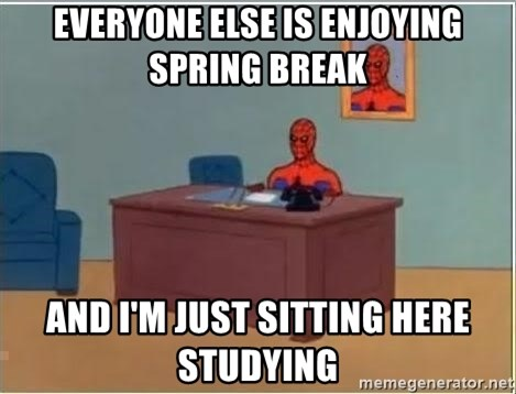 Spiderman Desk - everyone else is enjoying spring break and I'm just sitting here studying