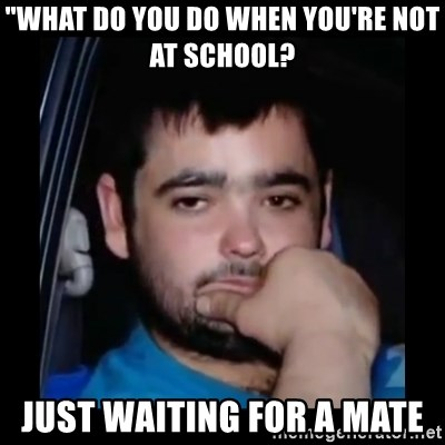 "just waiting for a mate - ""WHAT DO YOU DO WHEN YOU'RE NOT AT SCHOOL?  JUST WAITING FOR A MATE"