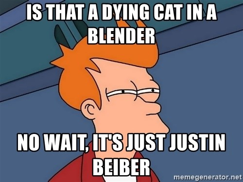 Futurama Fry - is that a dying cat in a blender no wait, it's just justin beiber