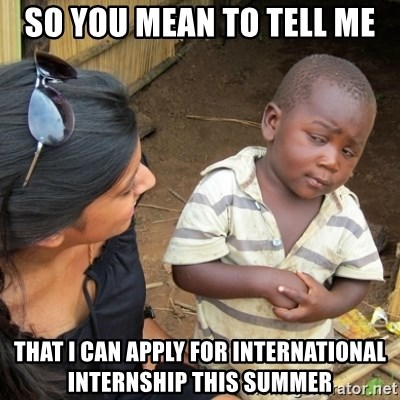Skeptical 3rd World Kid - so you mean to tell me that i can apply for international internship this summer