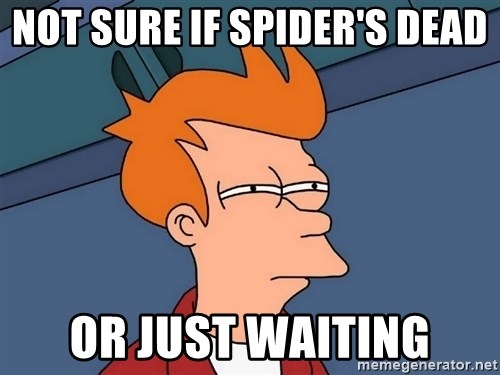 Futurama Fry - Not sure if spider's dead or just waiting