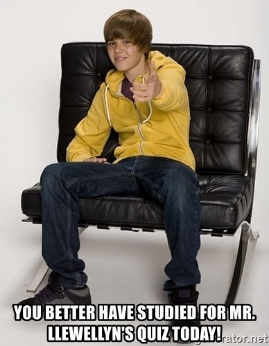 Justin Bieber Pointing -  you better have studied for mr. llewellyn's quiz today!