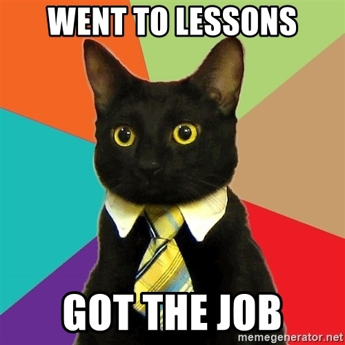 BusinessCat - went to lessons got the job