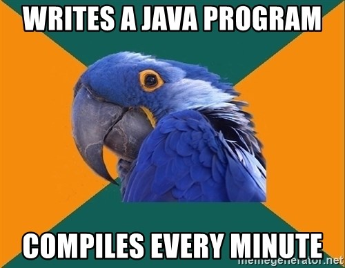 Paranoid Parrot - writes a java program  compiles every minute