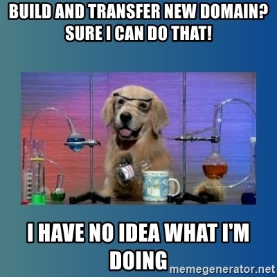Chemistry Dog - Build and transfer new domain? Sure I can do that! I have no idea what I'm doing