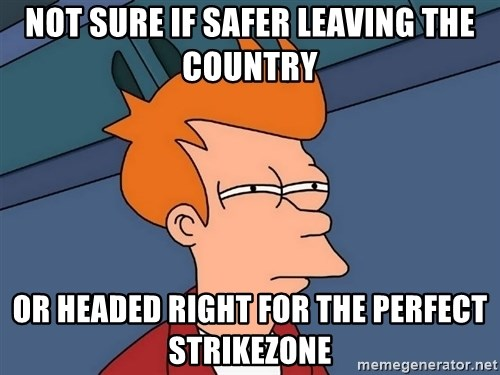 Futurama Fry - Not sure if safer leaving the country or headed right for the perfect strikezone