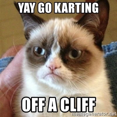 Grumpy Cat  - YAY GO KARTING OFF A CLIFF