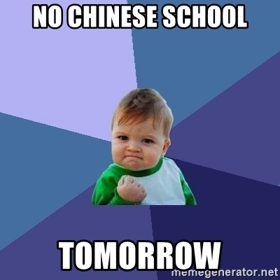Success Kid - no chinese school tomorrow