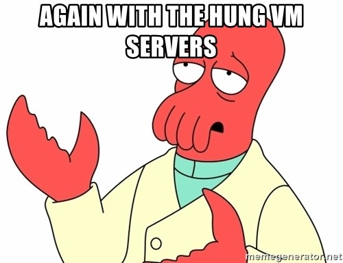 Why not zoidberg? - Again with the hung vm servers