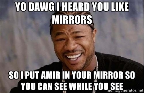 Yo Dawg - Yo dawg i heard you like mirrors so i put amir in your mirror so you can see while you see
