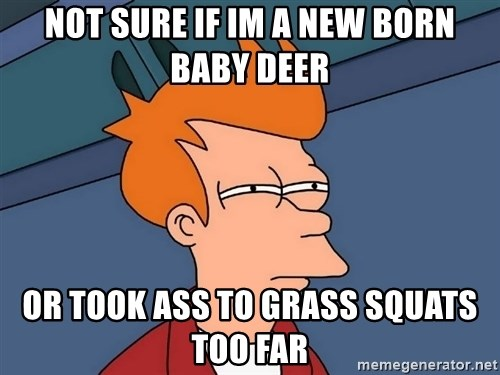 Futurama Fry - Not sure if im a new born baby deer or took ass to grass squats too far