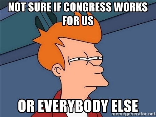 Futurama Fry - not sure if congress works for us or everybody else