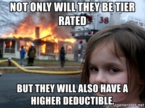 Disaster Girl - not only will they be tier rated but they will also have a higher deductible.
