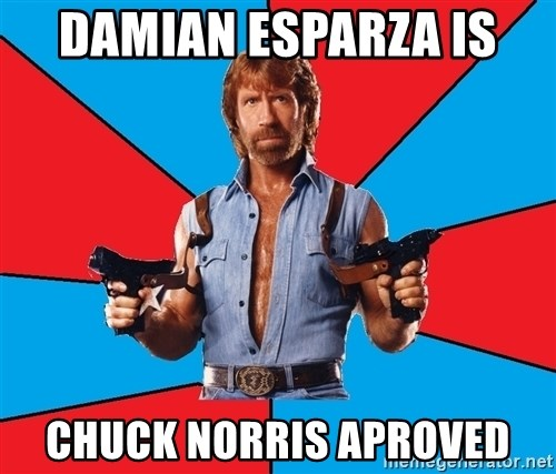 Chuck Norris  - DAMIAN ESPARZA IS  CHUCK NORRIS APROVED