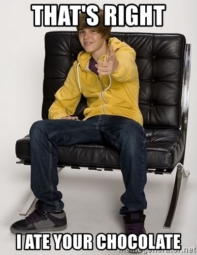 Justin Bieber Pointing - THAT'S RIGHT  I ATE YOUR CHOCOLATE