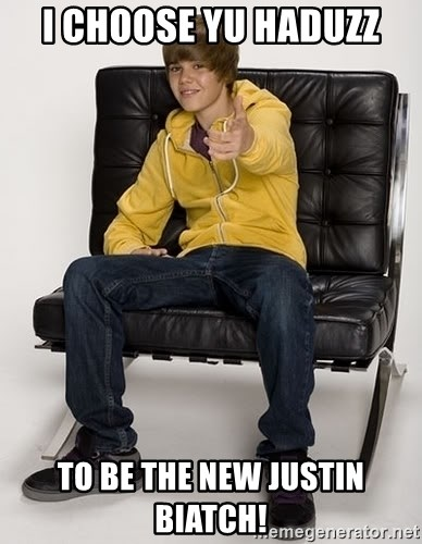 Justin Bieber Pointing - I CHOOSE YU HADUZZ TO BE THE NEW JUSTIN BIATCH!