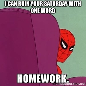 Suspicious Spiderman - I can ruin your saturday with one word homework.