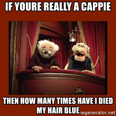 Muppet Critics - If yOure really a cappiE Then how many times have I died my hair blue