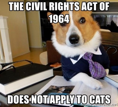 Dog Lawyer - The Civil Rights ACt of 1964   does not apply to cats
