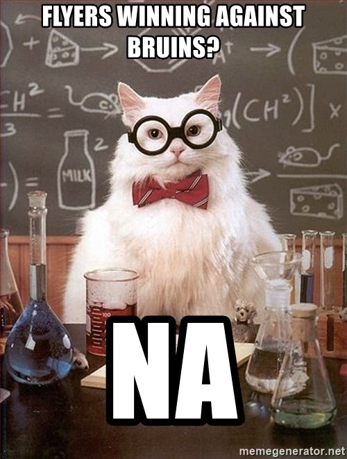 Science Cat - Flyers winning against bruins? na