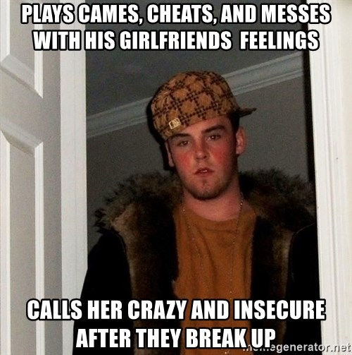 Scumbag Steve - plays cames, cheats, and messes with his girlfriends  feelings calls her crazy and insecure after they break up