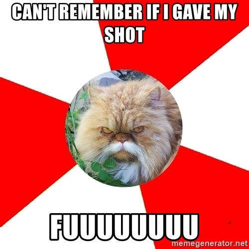 Diabetic Cat - can't remember if i gave my shot fuuuuuuuu