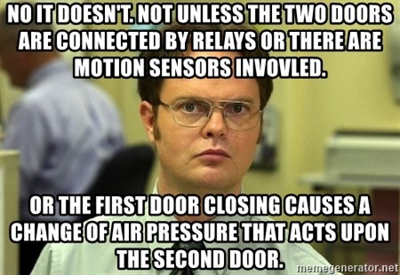 False guy - No it doesn't. not unless the two doors are connected by relays or there are motion sensors invovled. Or the first door closing causes a change of air pressure that acts upon the second door.