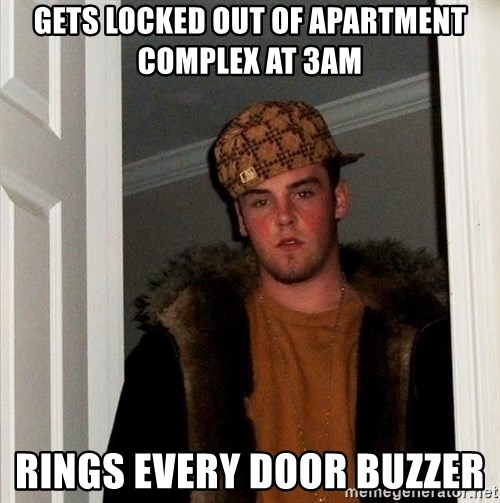 Scumbag Steve - Gets locked out of apartment complex at 3am rings every door buzzer