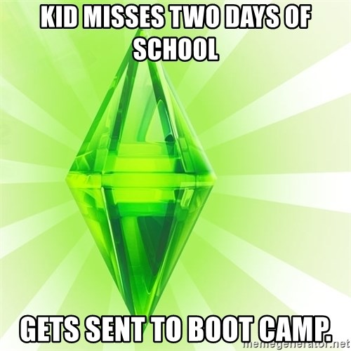 Sims - kid misses two days of school Gets sent to boot camp.