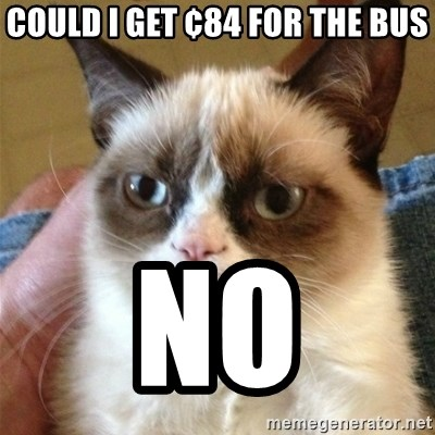 Grumpy Cat  - could I get ¢84 for the bus no