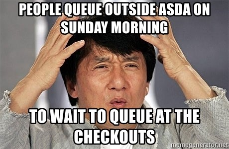 Jackie Chan - People queue outside asda on sunday morning to wait to queue at the checkouts